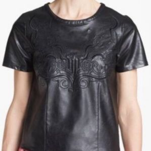 ASTR Faux Leather Embroidered Black Short Sleeve T